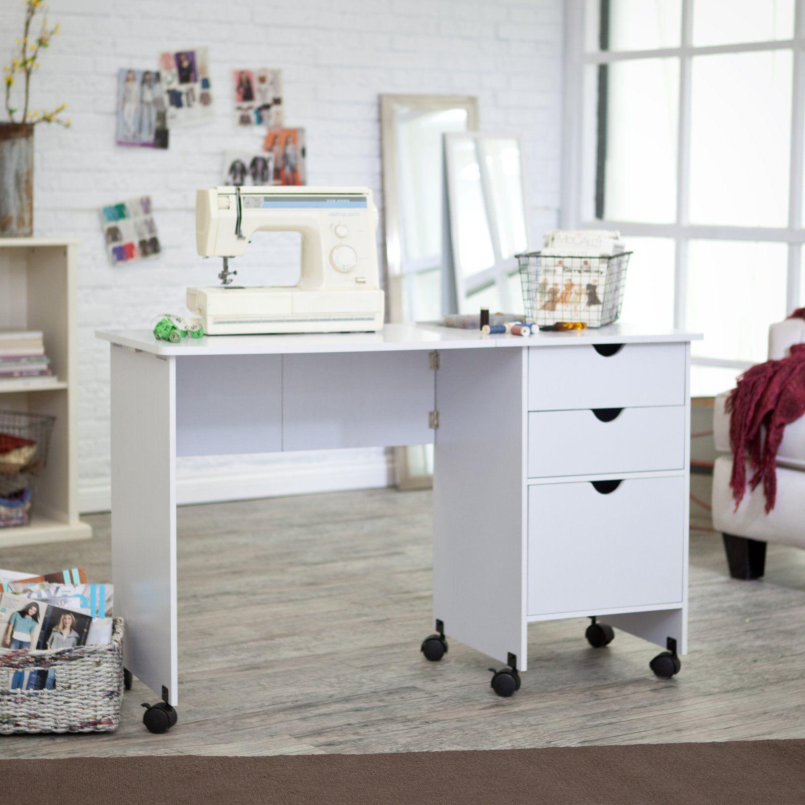 Beldin Mobile Sewing Desk  White