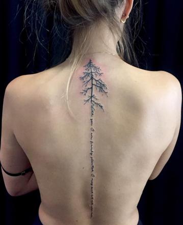Zoey Tattoo : tattoo, Delicate, Lettering-, Spine, Tattoos, Women,, Women, Flowers,, Tattoo