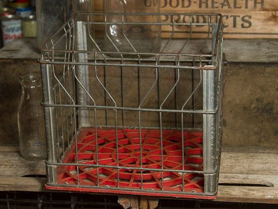Vintage Wire Crate Mcdonald Dairy Milk Crate Flint Michigan