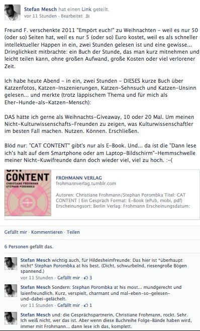 Ein Lob Von Literaturkritiker Stefan Mesch Auf Facebook