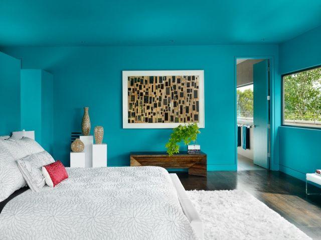 wandgestaltung mit farbe blau schattierungen, wandgestaltung mit farbe blau und schattierungen von blau #farbe, Design ideen