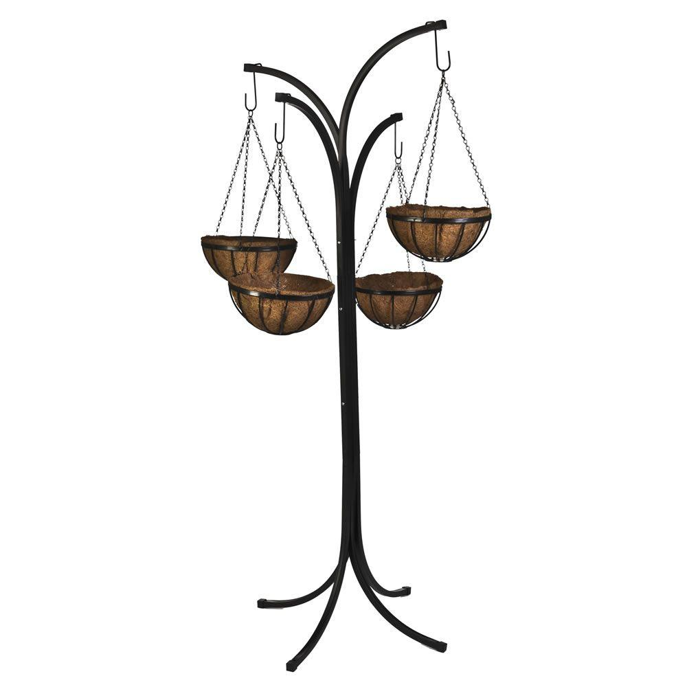 Delightful Metal Hanging Plant Stand Part - 12: Metal Hanging Basket With Tree Stand (4-Pack), Black