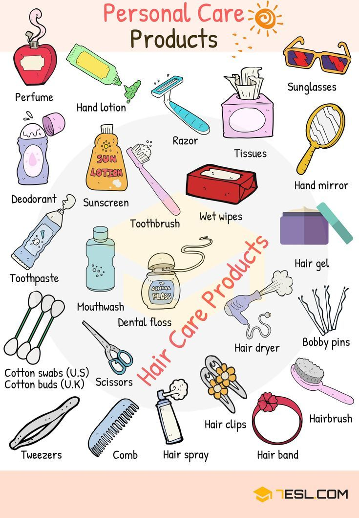 Personal Care Products Vocabulary Words List