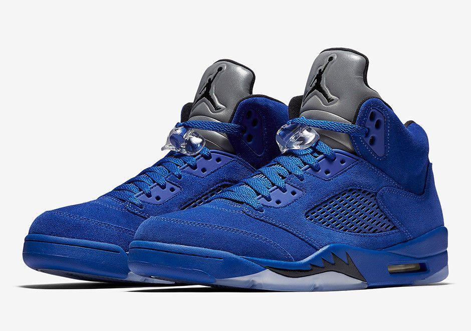 Nike Air Jordan Retro 5 V Blue Suede Size 9.5-14 Game Royal Black ... e19fc167e