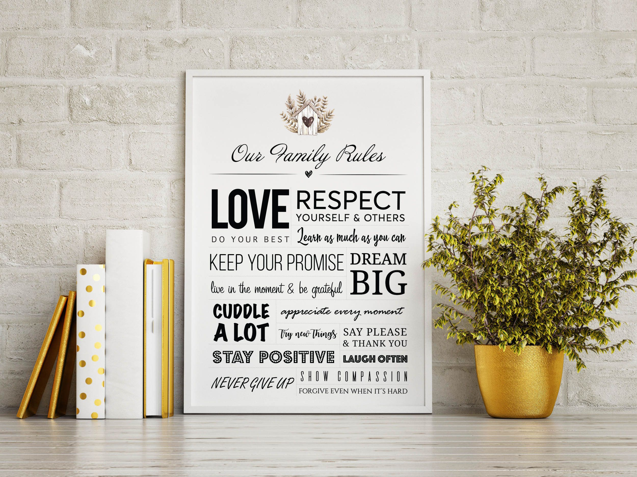 Family House Rules Personalised Custom Printable Family Sign Etsy Quote Posters Custom Quotes Motivational Prints