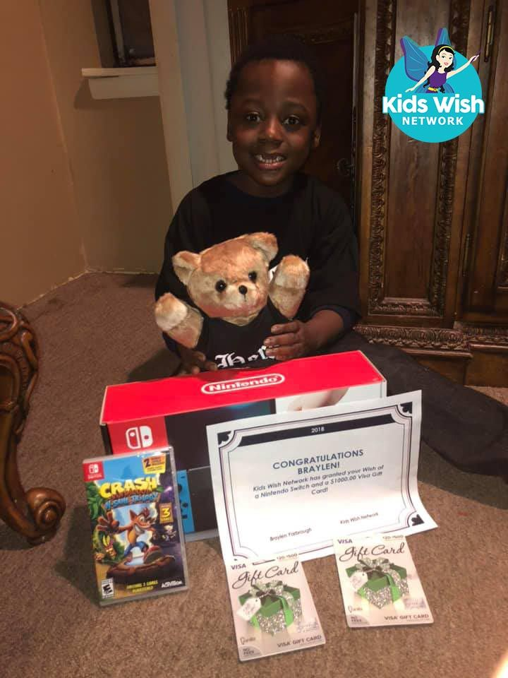 Braylen loves playing video games, so for his wish, Kids Wish Network purchased him a Nintendo Switch – a gamer's dream come true! Braylen also received a generous gift card so he could shop for even more amazing gifts.  He was born extremely premature, and doctors initially thought he wouldn't live past 72 hours. Braylen has bronchopulmonary dysplasia, a long-term lung condition that affects newborn babies who were either put on a breathing machine after birth and/or born prematurely.