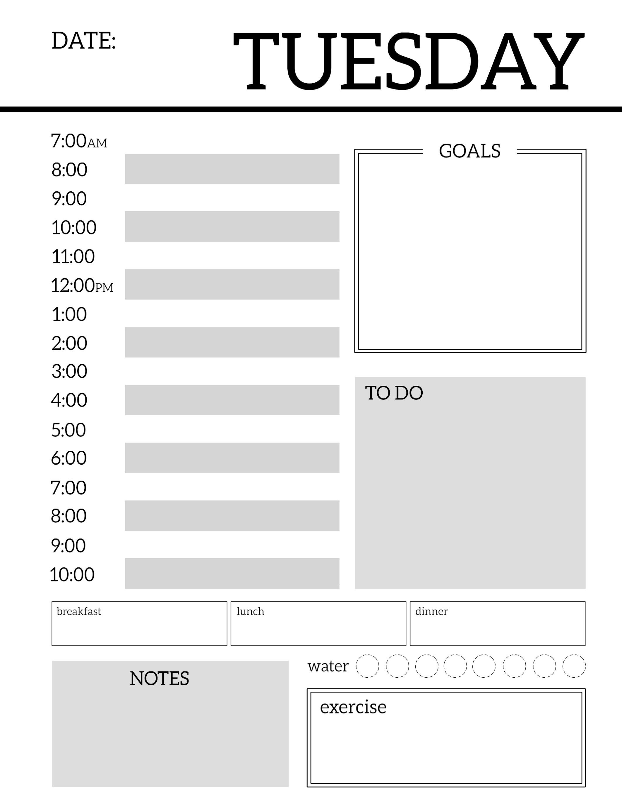 daily planner printable template sheets planner pinterest