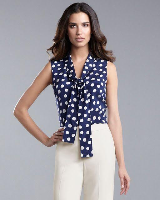 39d9907633d BLUSAS CON LUNARES BLANCO Y NEGRO | Moda para mujer | Blusas rojas ...
