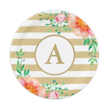 sc 1 st  Pinterest & Vintage Floral Gold Monogram Gold White Striped Paper Plate