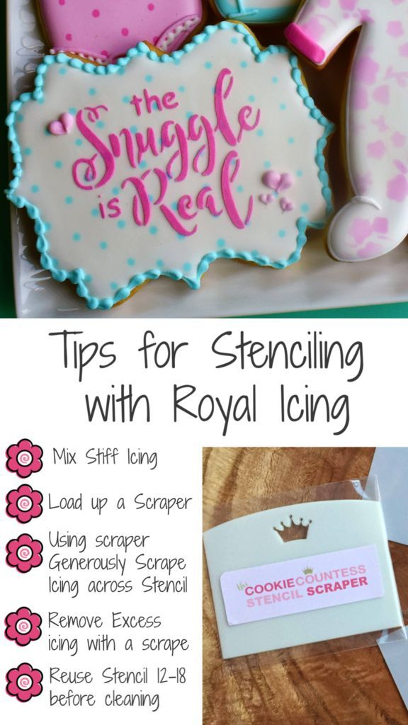 Step By Step Tutorial To Make Cookie Stenciling Easy #cookietips