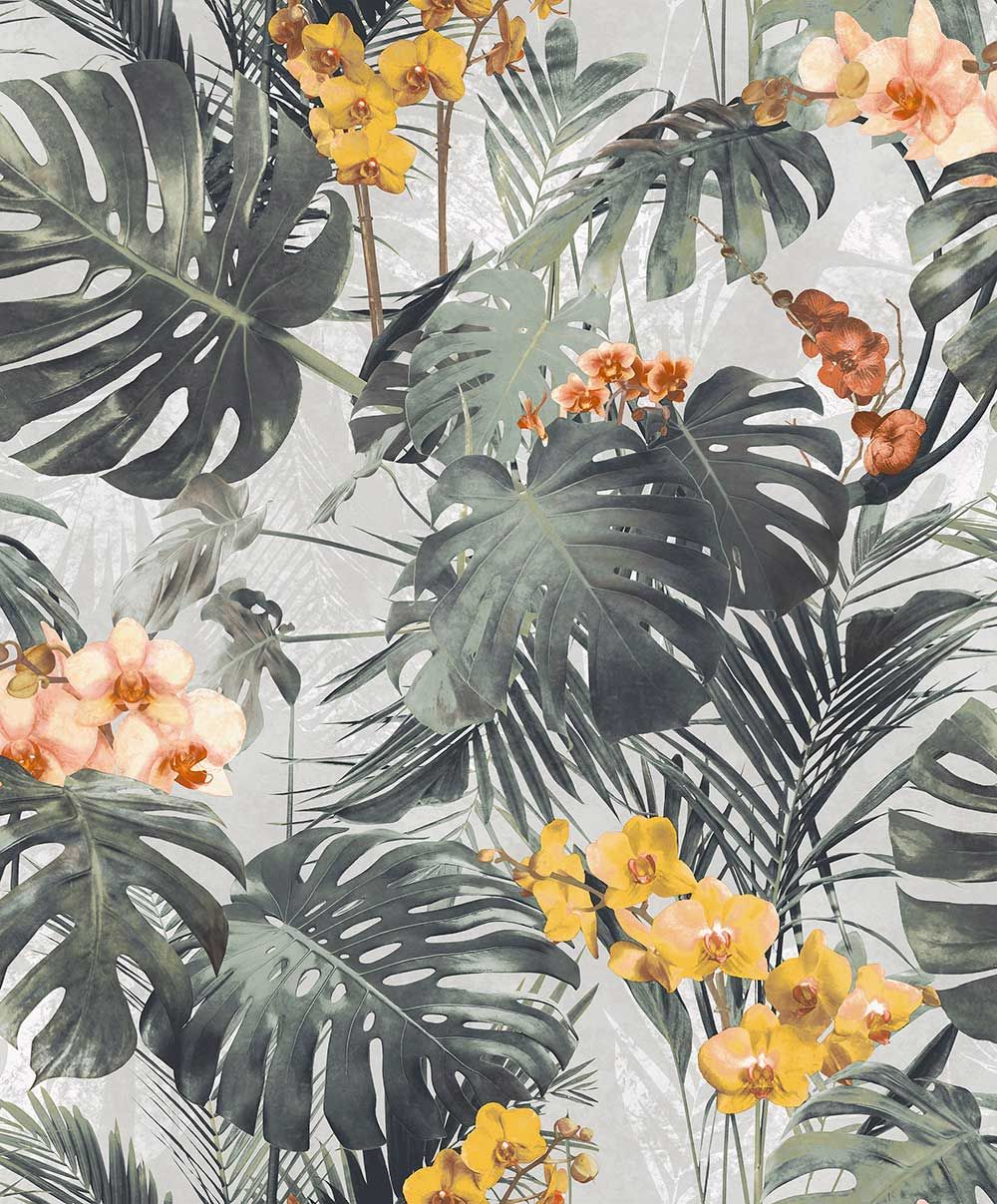 Orchid Jungle by Grandeco Green Wallpaper Wallpaper