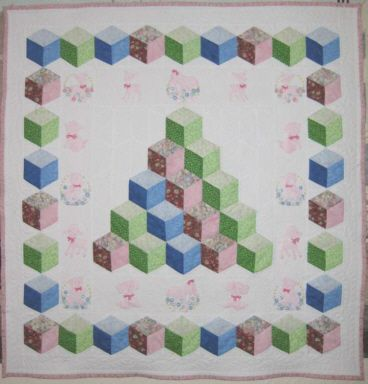 Tumbling Blocks Baby Quilt Pattern.Customer Quilts Blanket Quilt Tumbling Blocks Quilt