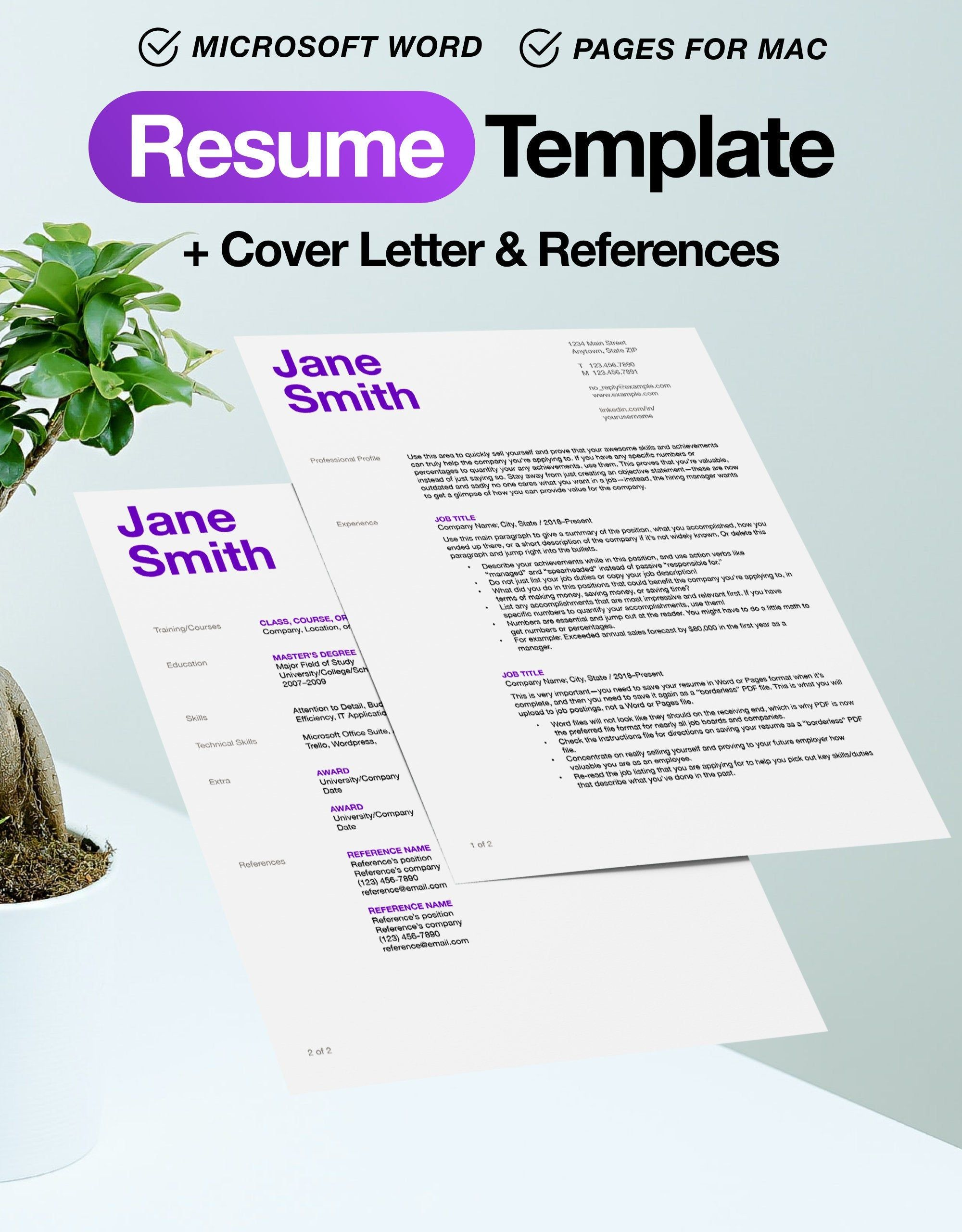 Resume Template with Cover Letter and References for Word