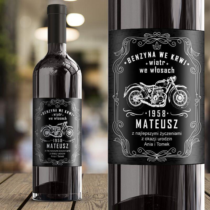 Etykieta Na Wino Dla Motocyklisty Benzyna We Krwi Wiatr We Wlosach Coffee Bottle Starbucks Iced Coffee Bottle Wine Bottle