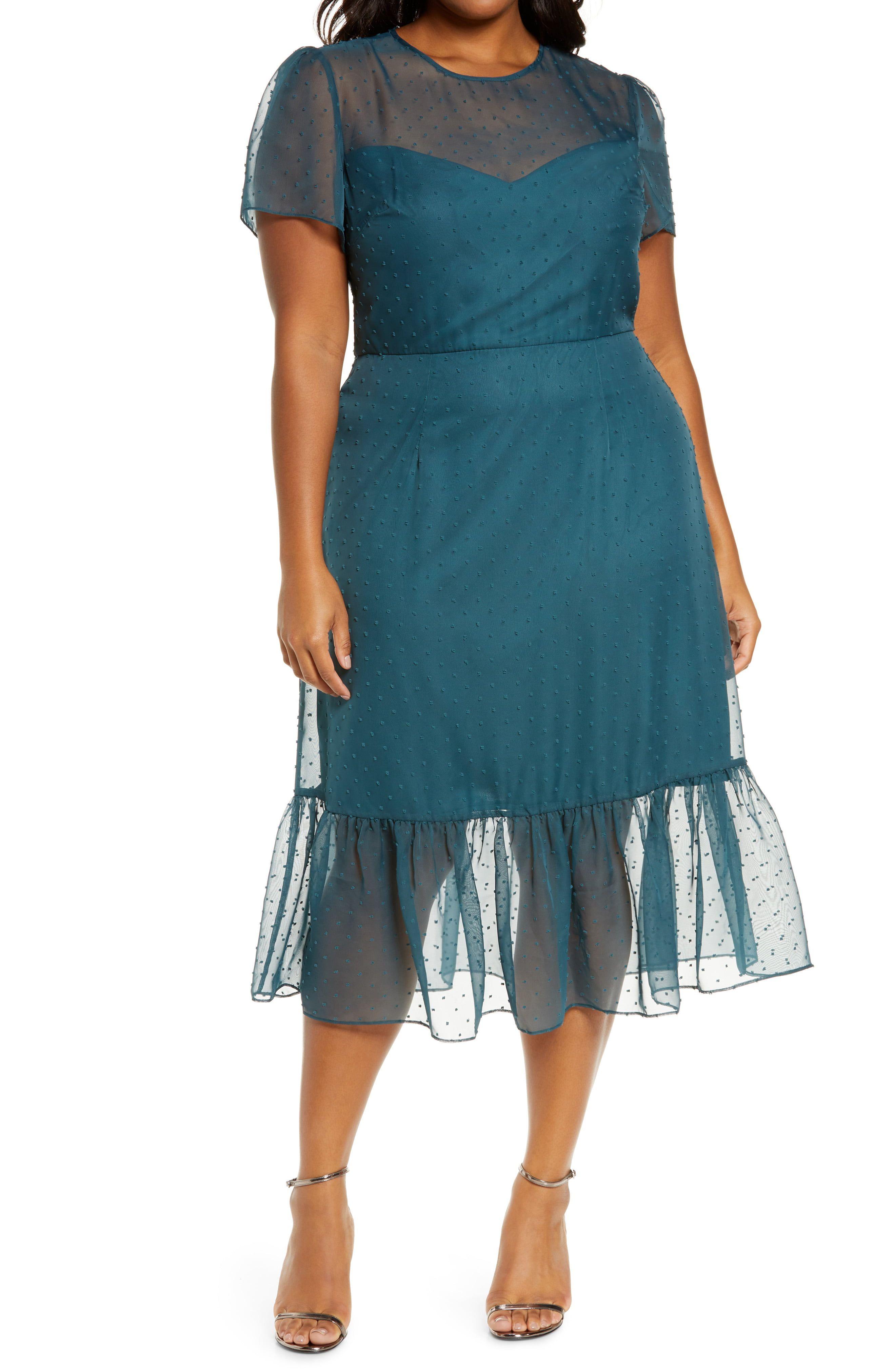 Chi Chi London Curve Kristine Swiss Dot Midi Dress Available At Nordstrom Midi Dress Plus Size Womens Trendy Dresses Midi Dress [ 4048 x 2640 Pixel ]