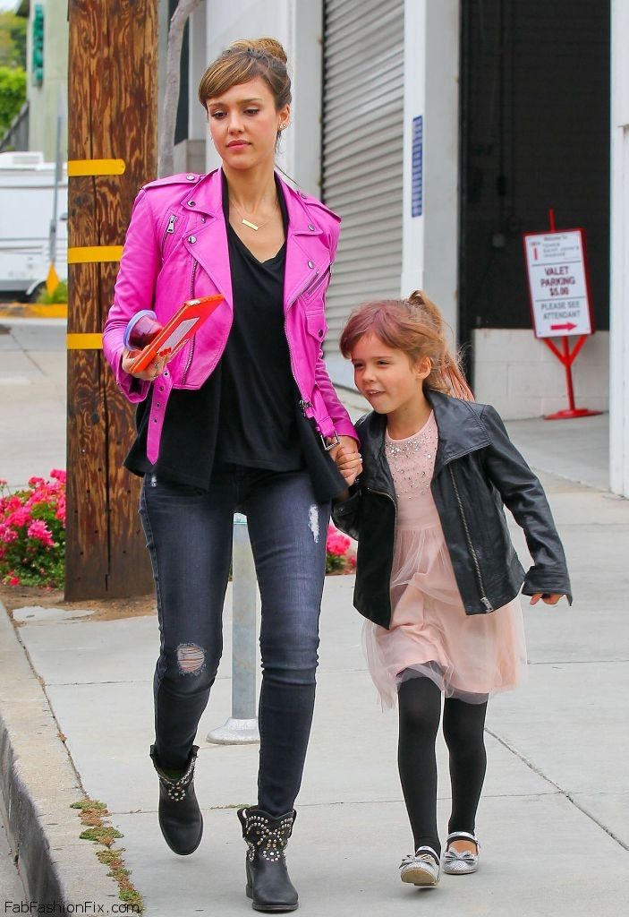 #punk style biker jacket 4 mom & daughter I Jessica Alba in pink with her daughter Honor in black, stylish family!