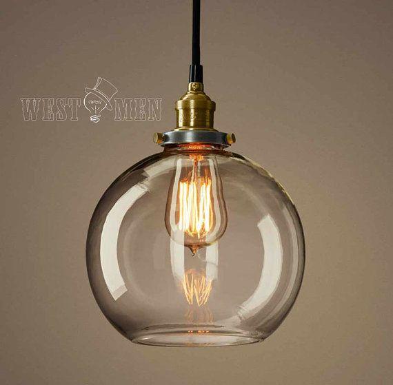 Retro Glass Ball Pendant Lamp Vintage Open Bubble Ceiling Light