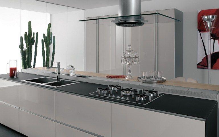 Cuisine intégrée en verre ARTEMATICA VITRUM - BLANC NUAGE by ...