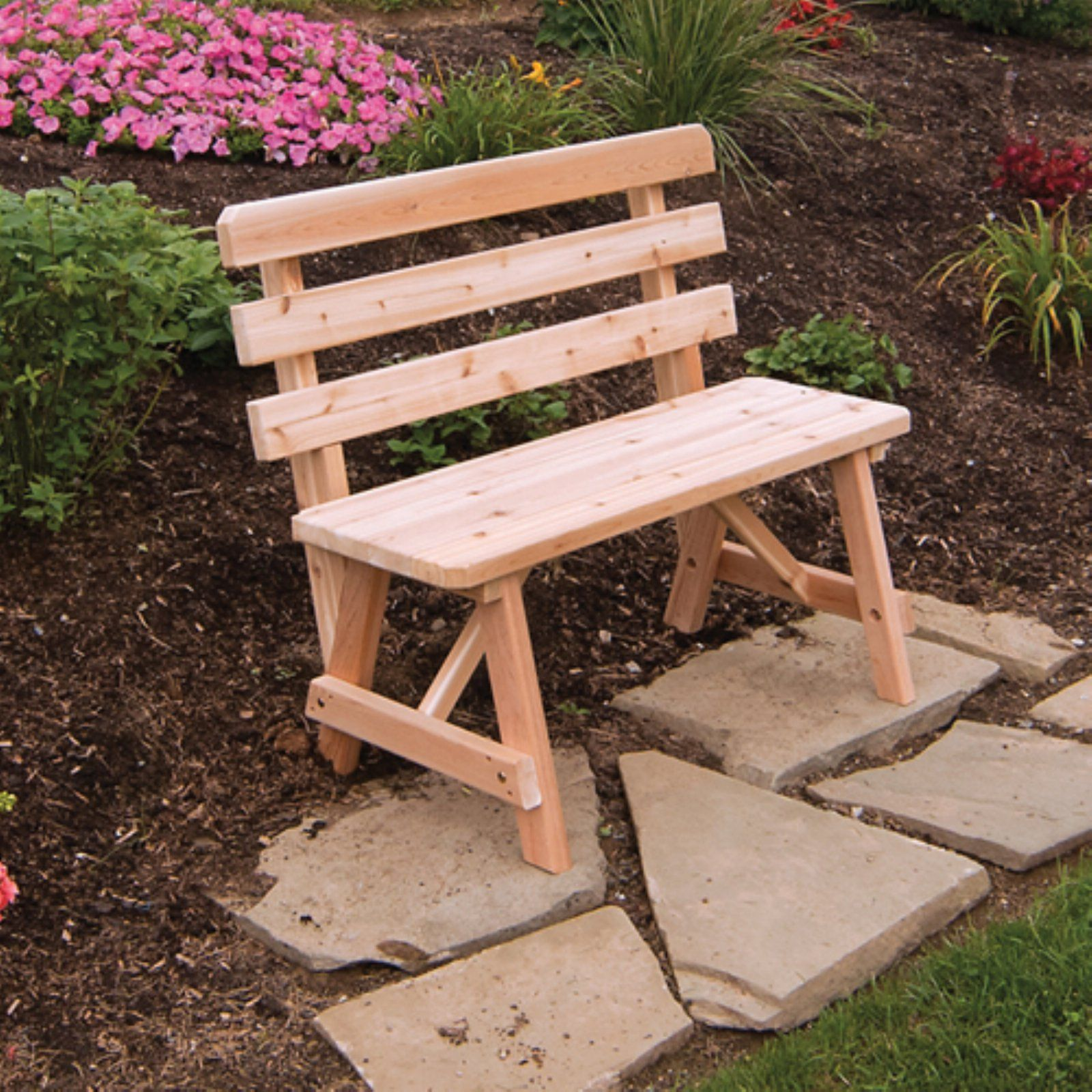 A L Furniture Western Red Cedar Bench With Back Pallet
