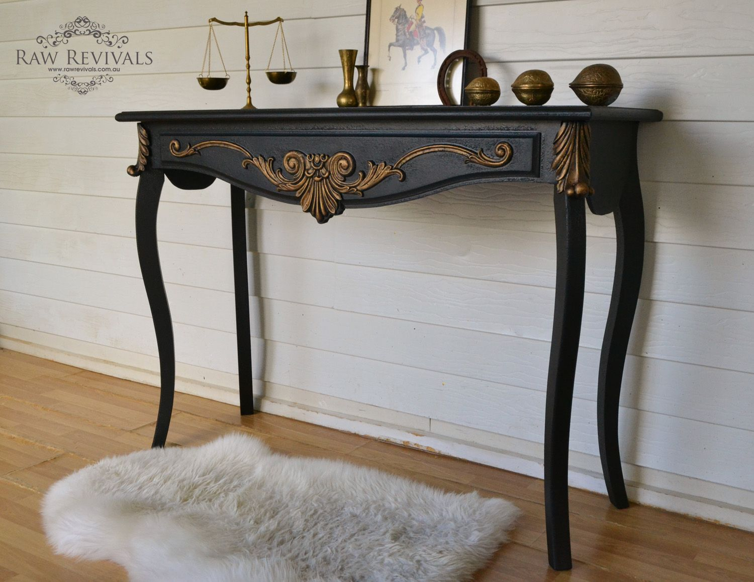Traditional Black hall table with gold gilding. www.rawrevivals.com ...