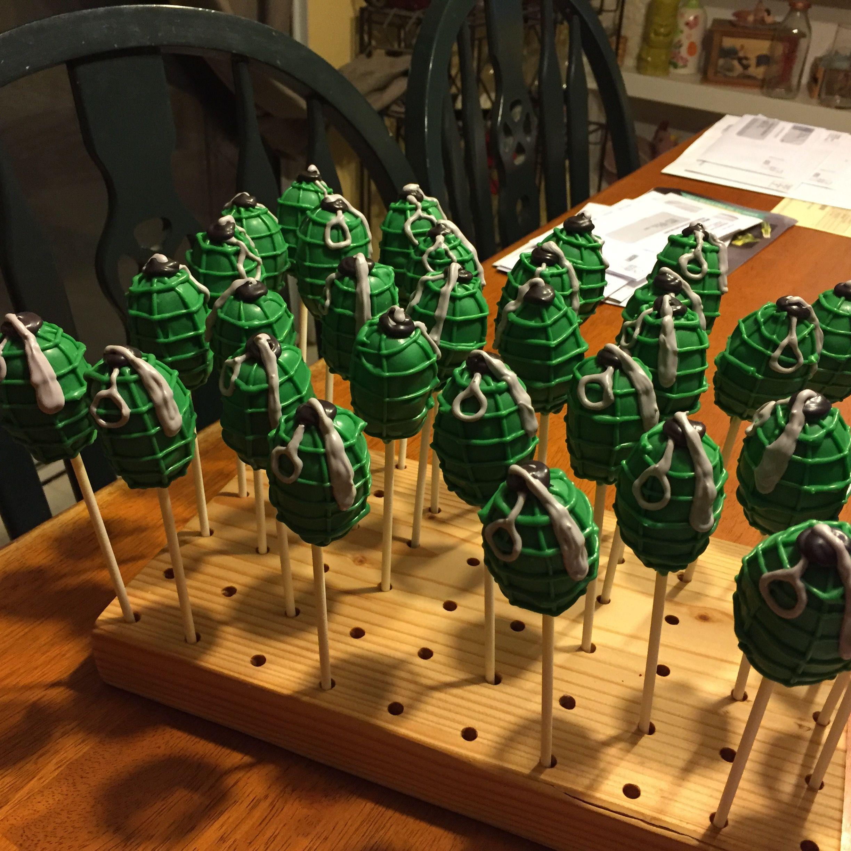 Grenade cake pop cake cake pops pop