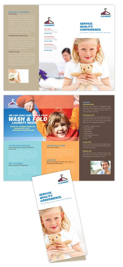 Laundry  Dry Cleaners Tri Fold Brochure Template  Brochure
