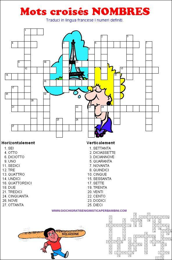 Cruciverba per ragazzi sui numeri in francese francese for Cruciverba facili per bambini