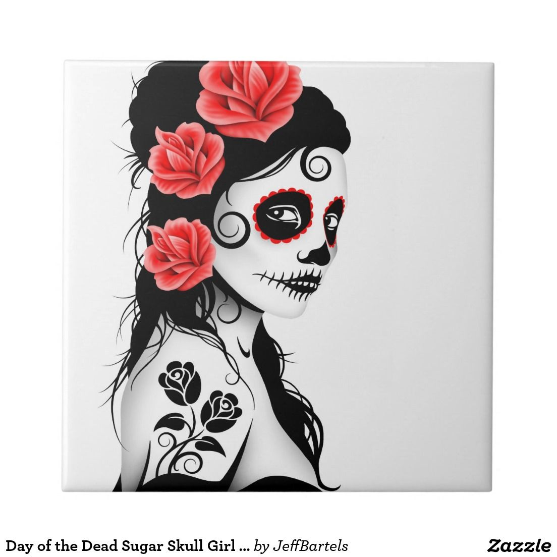 Day of the dead sugar skull girl white ceramic tile skulls day of the dead sugar skull girl white ceramic tile dailygadgetfo Choice Image