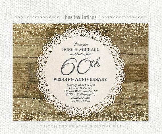 60th wedding anniversary invitation diamond glitter silver confetti