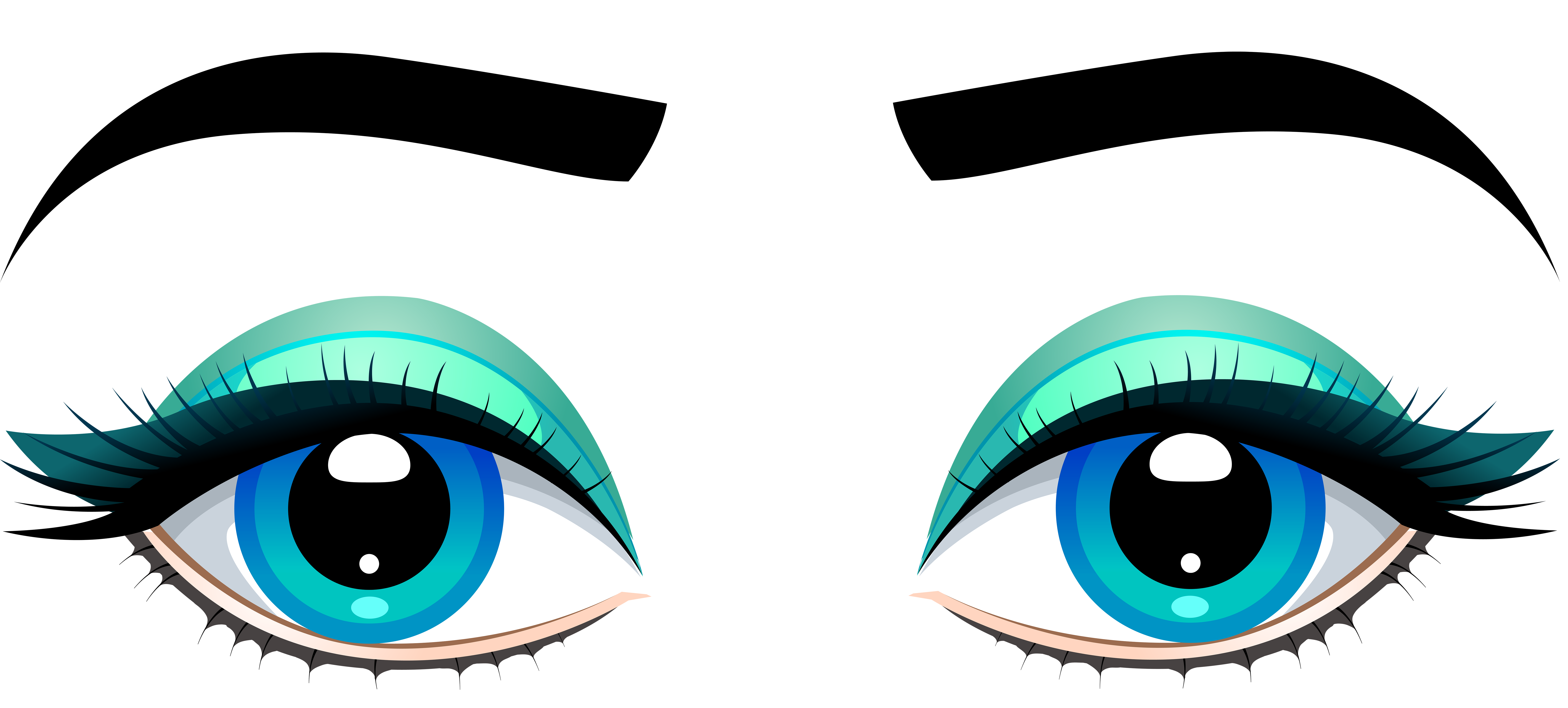 Happy Cartoon Eyes With Eyelashes download (With images