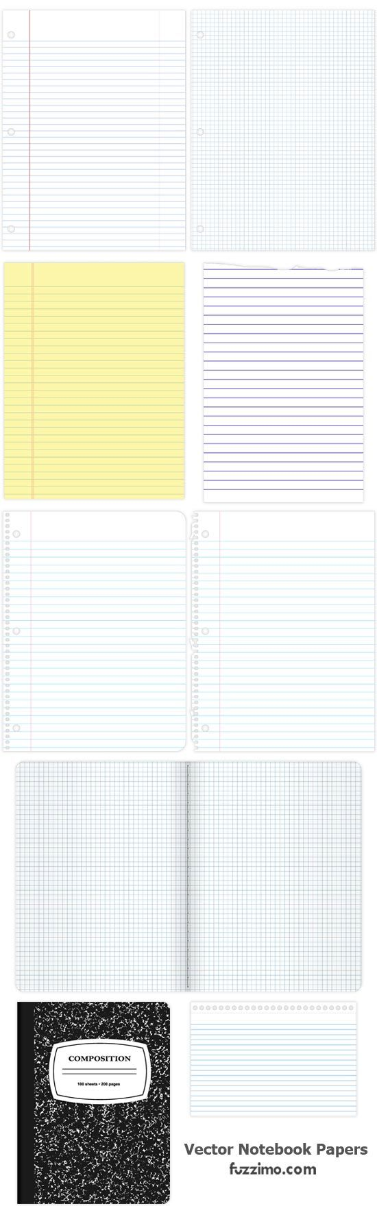 Free Vector Notebook Papers And Cover  Print Loose Leaf Paper