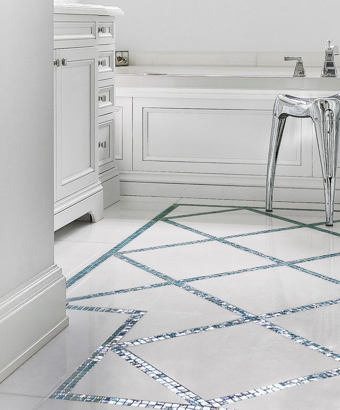 All About Glass Mosaic Tile Marble bathroom floor, Glass