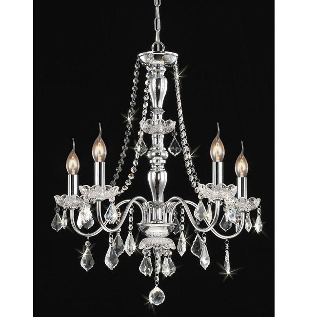 This Traditional Five Light Chrome Crystal Chandelier Elevates The Decor Of Your Home