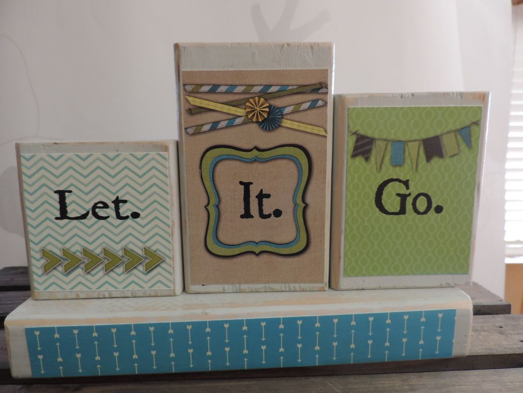 """FROZEN WOODEN BLOCKS 10"""" long, 3.5"""", 4.5"""", 5.5"""" blocks, hand painted, sanded, and modpodged $18.00"""