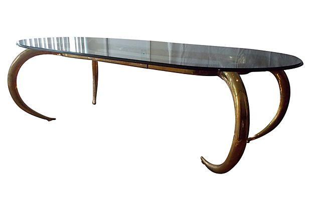 brass elephant tusk dining table on onekingslane | 1980's
