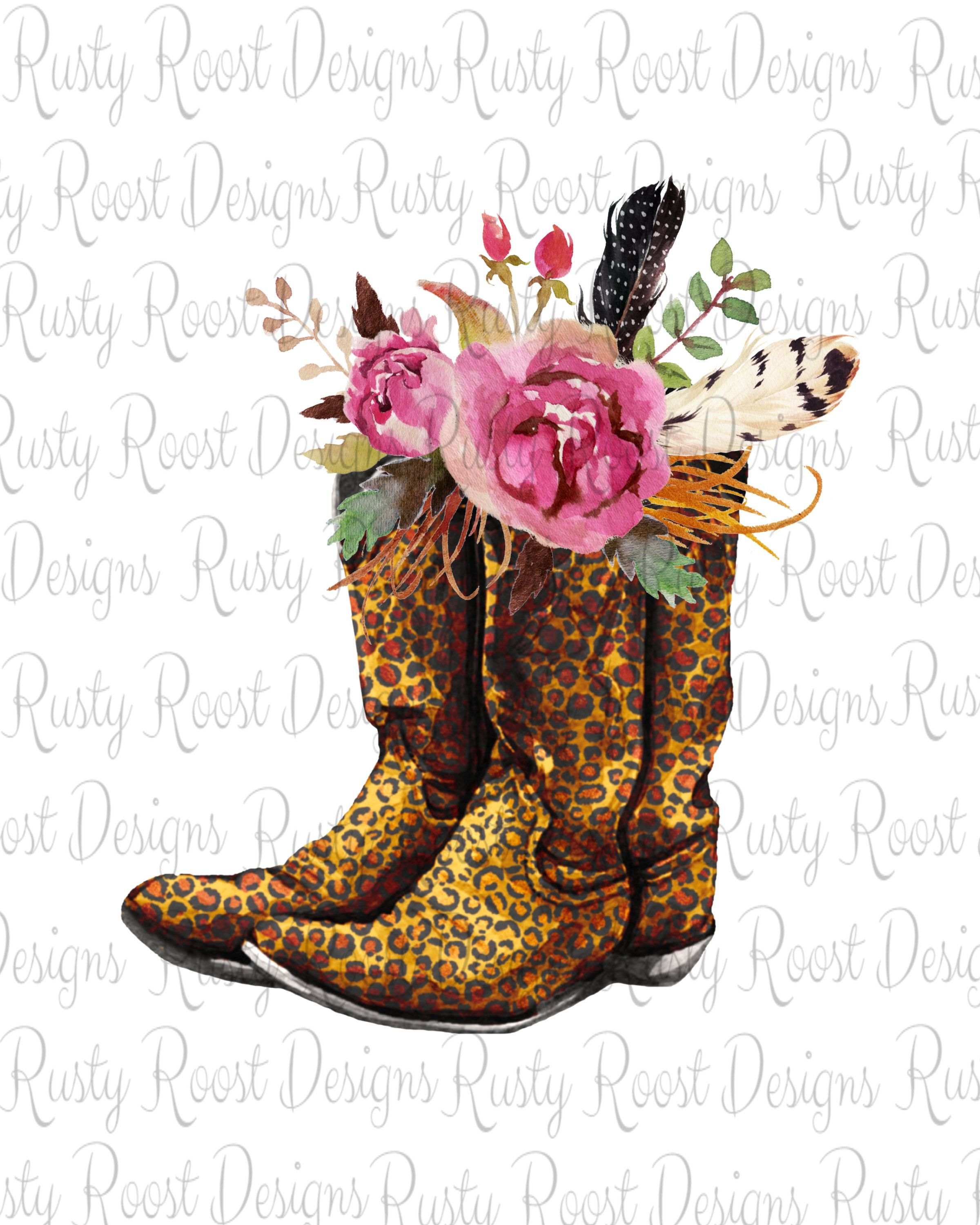 Cowgirl Leopard Boots Pngsublimation Design Downloadleopard Etsy In 2020 Leopard Boots Cowgirl Shirts Cowboy Boots