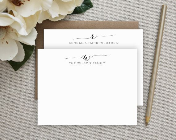 Personalized Note Card Set Personalized Stationery Cards Monogram Stationery Set of Flat Personalized Stationery SW112