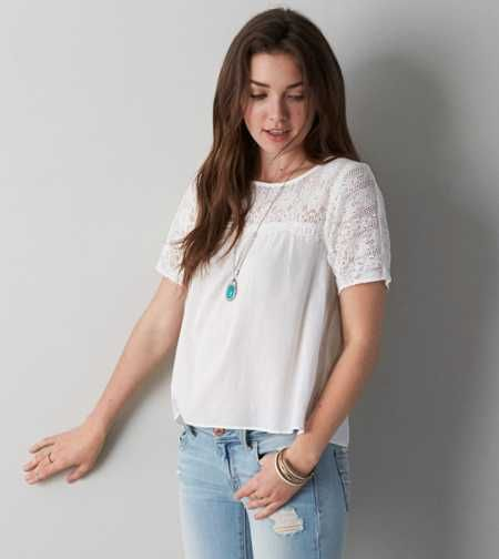 AEO Lace Shoulder T-Shirt - Buy One Get One 50% Off