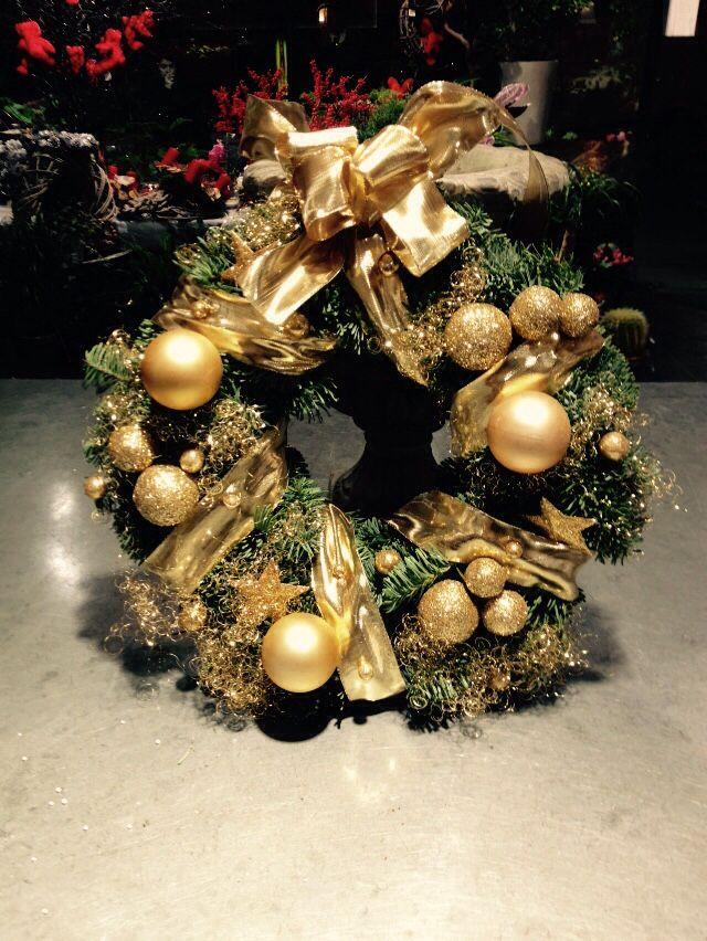 Couronne or de porte Noël