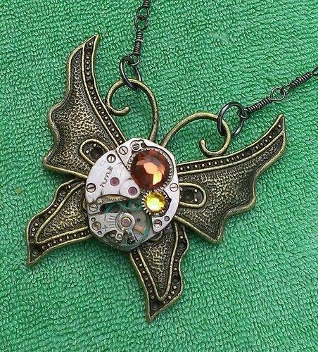 VTG Swarovski 17 Ruby Jeweled Steampunk Mechanical Butterfly Necklace  $19.99 http://cgi.ebay.co.uk/140983581329