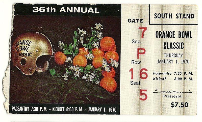 1970 ORANGE BOWL TICKET STUB Penn State Missouri.....if