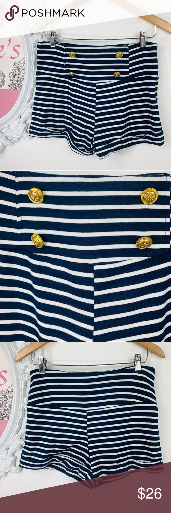 DNA Couture/ High-Waist Blue White Striped Short Dna Couture High -Waist Cuffed blue with white stripes and gold buttons with Anchors .97% Cotton 3% Spandex gives it a little extra stretch  Size 0 Waist 15in Length 13in. Rise 14in. Inseam 2in.  #0502 DNA couture Shorts