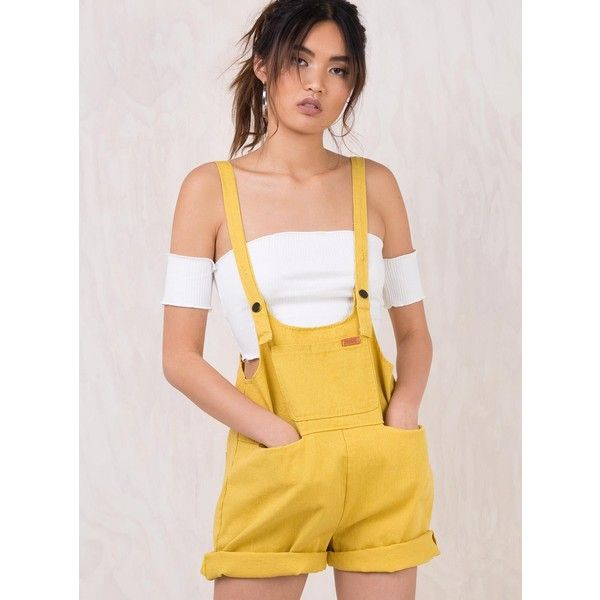 3d6e8c5752 Mustard Sloan Denim Overalls ( 57) ❤ liked on Polyvore featuring jumpsuits