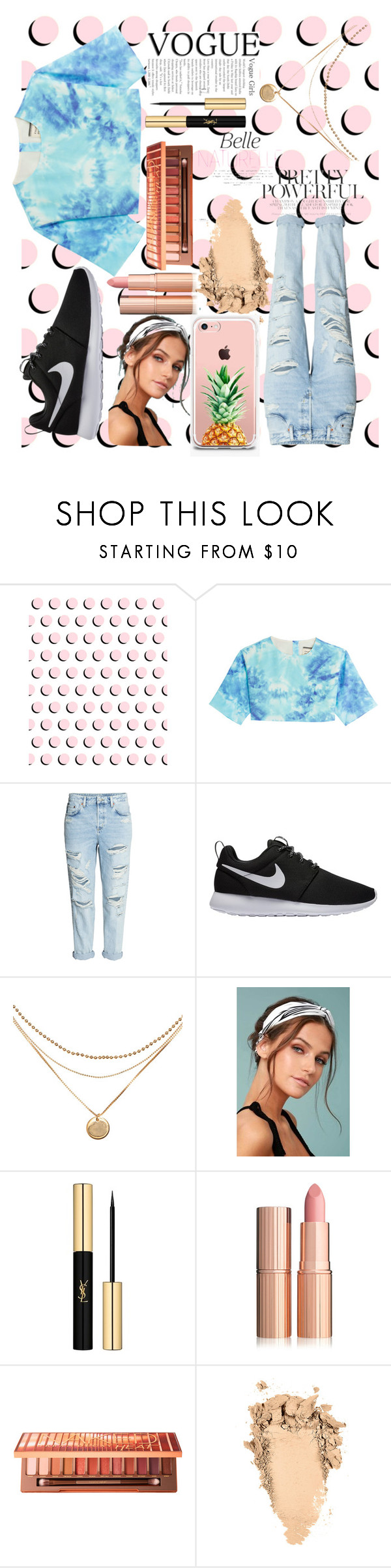 """""""Girls Just Wanna Have Fun"""" by tiedyefashion ❤ liked on Polyvore featuring FAUSTO PUGLISI, H&M, NIKE, LULUS, Yves Saint Laurent, Urban Decay and The Casery"""