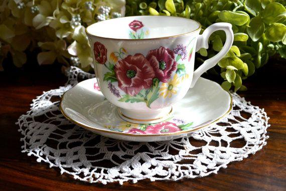 Crown Ceramics Ltd Fine Bone China Tea Cup And Saucer Etsy Bone China Tea Cups Bone China Tea Tea Cups