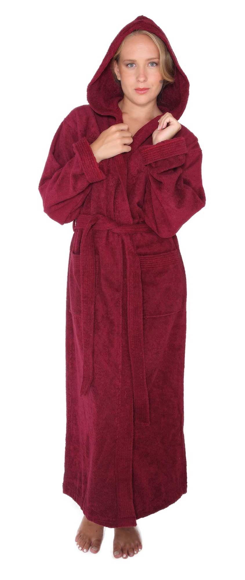 Men Women Hooded Fleece Bathrobe Terry Velour Long Sleepwear Bath Spa Robe Gown