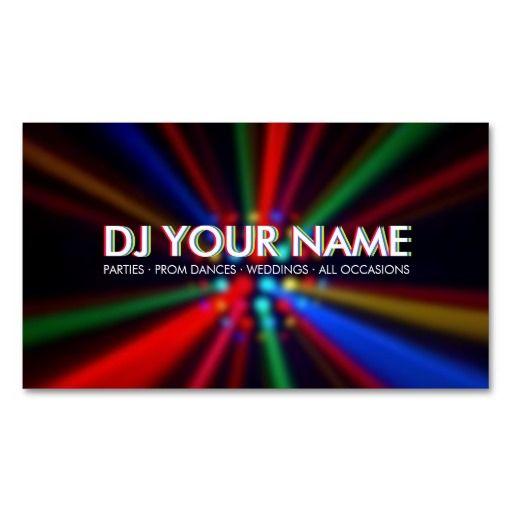 Dj Disco Beams Lights Business Card Dj Disco Dj Business Cards Dj