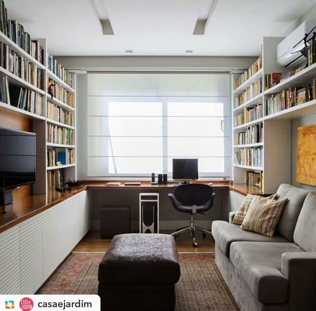Contemporary Homeoffice Desk: The Low Hanging Desk And Tall Book Shelves. Give This Room