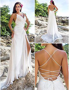 Vestido de Noiva Justo Em V/Alças Finas Cauda Corte (Chifon)