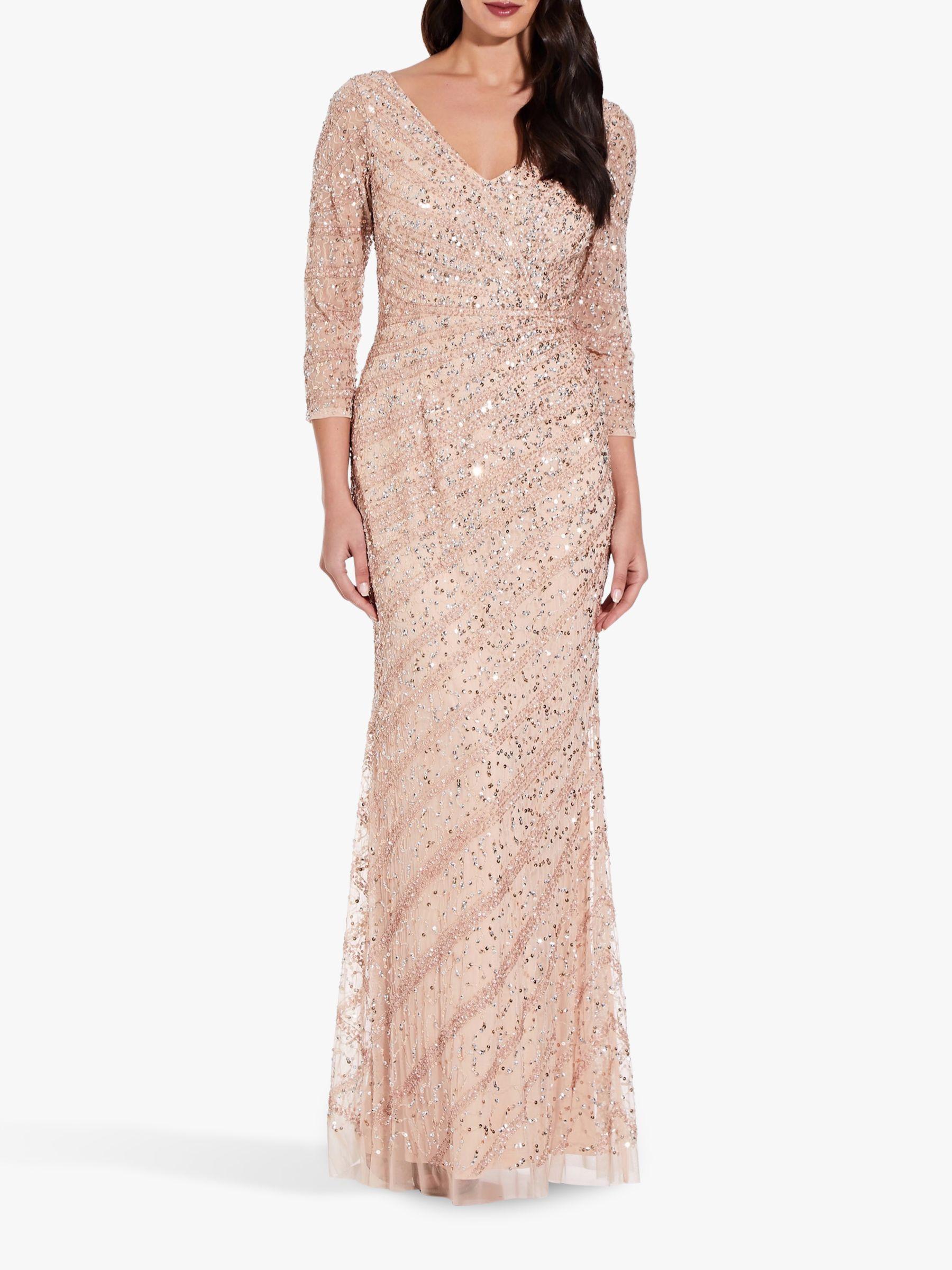 Adrianna Papell 3 4 Length Sleeve Embellished Maxi Dress Champagne Sand Embellished Maxi Dress Maxi Dress Dresses [ 2400 x 1800 Pixel ]